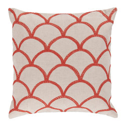 """Surya - Square Pillow COM-009 - 22"""" x 22"""" - Update your space with this perfect pillow! The scintillating scale design paired with the radiant red coloring beams against the tan backdrop, creating a portrait of charm in any room. This pillow contains a zipper closure and provides a reliable and affordable solution to updating your home's decor."""