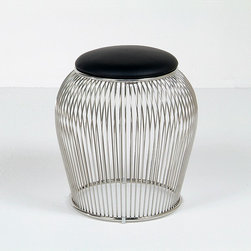 Modern Classics - Platner: Wire Ottoman Stool Reproduction - Features:Stainless steel wire baseLeather seat with choice of 15 leather colorsSpecifications:Overall Dimensions (in): 16w x 16d x 19hSeat Height: 19 in.Weight: 22 pounds