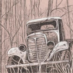 "Forgotten (Original) by Marvin Tweedy - When I first started drawing, I drew a lot of cars, because that was something that interested me.  So when I saw this old rusty truck forgotten in the woods it was only natural to try and capture it.  I enjoy the play of darks and lights with the white charcoal and black charcoals together increasing my ""gray"" tone range.  I grew up in the country so it is natural to be drawn towards country type images.  I hope that you enjoy the old rusty truck that was ""FORGOTTEN"""