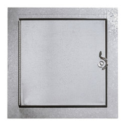 "Best Access Doors - Duct Door for Fibreglass Ducts, Galvanized Steel, 16""x16"" - 16"" x 16"" Duct Door for Fibreglass DuctsBest Access Doors Duct Access Panels for Fiberglass Ducts are designed to provide convenient, economical access to fiberglass ducts. These doors are for use in low to medium pressure fiberglass ducts. Duct access doors from Best Access Doors for Fiberglass Ducts are available in either hinged -.        -   Application - Economical access to ?�breglass ducts Product Features - These doors are for use in low to medium pressure ?�breglass ducts- Hinged door panel   BA-HD-5070-F ""Hinged"" Fibreglass Duct Doors Speci?�cations:   - Door: 24 gauge galvanized steel- Frame: 24 gauge galvanized steel- Hinge: Continuous aluminum piano hinge - Insulation: Insulation 1"" Micro-AIRC M/F TYPE-475 R value 7.7 - Gasketing: 1/8"" thick by 1/2"" wide closed cell neoprene gasketing between  door and frame and also between frame and duct- Latch: Self tightening, hand operated cam latch"