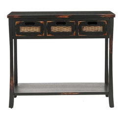 Safavieh Furniture - Autumn Distressed 3-Drawer Console Table in B - Three drawers for ample storage space. Inset wicker drawer fronts highlights this black table. No assembly required. 34 in. W x 14 in. D x 30 in. H (16 lbs.)