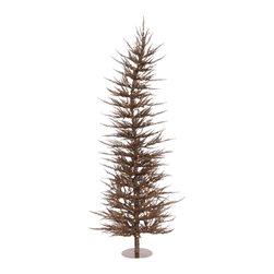 "Vickerman - Mocha Laser Tree 70CL 608T (4' x 19"") - 4' x 19"" Mocha Laser Tree 70 Clear Mini Lights 608 PVC tips, with metal base."
