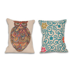 Thro - Craft Owl 14x18-inch Reversible Pillow - Sometimes sprucing up your home's decor is as simple as adding an owl throw pillow or two to your favorite couch or overstuffed chair. These soft, reversible pillows are an instant way to add a bit of whimsy to your house without sacrificing comfort.