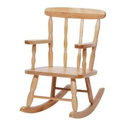 Steffy Wood Products - Solid Maple Pre-School Rocker in Natural Finish - Child's rocker features a slatted back design with decorative details and a natural finish combined with a narrow seat that is just the right size for toddlers. Ideal for home or classroom use, it has a durable wood construction to last for ages without losing function. Seat is narrower to accommodate smaller children. Meets CPSIA standards. Sturdy dado construction. Made in the USA. Minimal assembly required. Lifetime warranty. Seat height: 10 in. from floor. Total height: 22 in. . 15 in. W x 23 in. D x 22 in. H