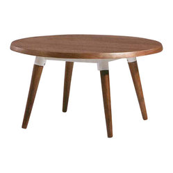Jin Side Table, White Oak Veneer with White Base