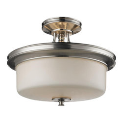 Three Light Satin Nickel Matte Opal Glass Bowl Semi-Flush Mount - A matte opal glass shade rests elegantly upon beautifully designed hardware, which is finished in brushed nickel, creating a look that is uniquely modern. This semi flush mount fixture will add a touch of modern class where ever it is hung.