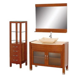 "Modern Bathroom - Daytona 42"" Bathroom Vanity Set - Cherry Finish - Absolutely exclusive to Modern Bathroom, the Daytona 42"" Bathroom Vanity Set in cherry is unique in contemporary bathroom vanities and will make a strong statement in your bathroom. This beautiful bathroom vanity comes complete with mirror and cabinet. Its solid marble counter shows off the glamour and modern design of this vanity, and will transform your bathroom into a contemporary masterpiece. This is a Modern Bathroom original design, and is therefore only available in very limited numbers. Incredibly, this price is for the complete set - Vanity, mirror, and cabinet included, and FREE SHIPPING! All counters are pre-drilled for a single-hole faucet, but are also available for a 3-hole faucet by request, at no additional charge. Available in additional sizes, finishes and counter options. Features Constructed of solid, environmentally friendly, zero emissions wood, engineered to prevent warping and last a lifetime Includes single-hole faucet mount Includes drain assembly and P-Trap Includes mirror and side cabinet Please note that backsplashes MUST be ordered at the same time as the vanity and counter. They cannot be shipped as separate items.--> How to handle your counterSpec Sheet for vanity and mirror Spec Sheet for WC-K-W045 Dimensions   Width Depth Height Height to counter Sink Height Vanity 41 3/4 21 3/4 33.5 33 1/2 5 to 5 1/2 Mirror 42 5 33     Vanity 41 3/4 21 3/4 33.5     Natural stone like marble and granite, while otherwise durable, are vulnerable to staining from hair dye, ink, tea, coffee, oily materials such as hand cream or milk, and can be etched by acidic substances such as alcohol and soft drinks. Please protect your countertop and/or sink by avoiding contact with these substances. For more information, please review our ""Marble & Granite Care"" guide."