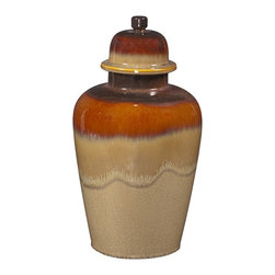 Howard Elliott - Howard Elliott Glossy Mocha & Merlot Ceramic Jar with Lid - Large - Glossy Mocha & Merlot Ceramic Jar with Lid - Large.