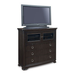 """Horchow - Dickinson Entertainment Chest - Fashion-forward entertainment chest offers transitional styling refined with the subtle sophistication of clean, contemporary design. Handcrafted of pine solids and ash burl veneers. Two doors, three drawers, and two shelves. 48""""W x 19""""D x 45""""T. I..."""