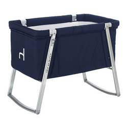 BabyHome - BabyHome Dream Portable Crib, Navy - Dream is an extremely lightweight cot with an aluminum frame that is easy to assemble/disassemble. Its innovative adjustable leg system allows, with the click of a button, to change the leg position from stationary to a rocker to wheels that allow Dream to be easily moved around the house. The fabric can be removed from the aluminum frame and washed. Dream comes with a high-density foam mattress that prevents the baby from getting caught between the edge of the mattress and side of the cot and a honeycomb structured mattress pad that is safe and breathable.