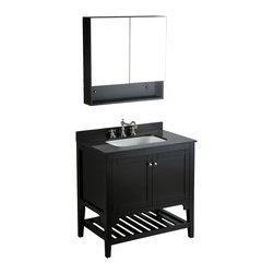"Bosconi - 33"" Bosconi SB-250 Vanity Set - A black granite top and solid wood frame with a black finish adds masculine appeal to this single-sink vanity that comes complete with a combination medicine cabinet and mirror. Soft-closing hinges provide sleek styling, while the silver hardware adds a rich undertone. A slated lower rack allows you to store additional personal items."