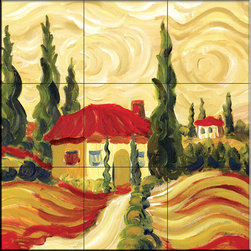 The Tile Mural Store (USA) - Tile Mural - Tuscan Villas I  - Kitchen Backsplash Ideas - This beautiful artwork by Joanne Margosian has been digitally reproduced for tiles and depicts a whimsical tuscan theme with Italian cypress trees.    Our kitchen tile murals are perfect to use as part of your kitchen backsplash tile project. Add interest to your kitchen backsplash wall with a decorative tile mural. If you are remodeling your kitchen or building a new home, install a tile mural above your stove top or install a tile mural above your sink. Adding a decorative tile mural to your backsplash is a wonderful idea and will liven up the space behind your cooktop or sink.
