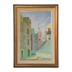 "European Street - Consigned Vintage Artwork - Gorgeous vintage oil painting with outstanding perspective and heavy texture, similar to stucco.  Signed ""Luis Ferio Marquez,"" lower right.  Displayed in a linen mat, giltwood fillet and frame."