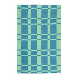 Safavieh - Handmade Thom Filicia Chatham Sea Blue Outdoor Rug (4' x 6') - This indoor outdoor rug has a green background and displays stunning panel colors of green and blue. This handwoven rug is made from recycled plastic bottles and resistant to mold,mildew,sun,water and other elements.