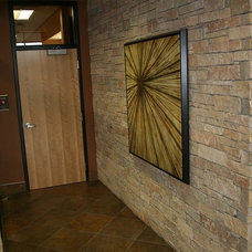 Contemporary Hall by The Quarry Mill Natural Stone Veneer