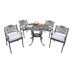 """Oakland Living - Oakland Living Mississippi 42"""" 5-Piece Dining Set with Cushions - Oakland Living - Patio Dining Sets - 201121099AB - About This Product:"""