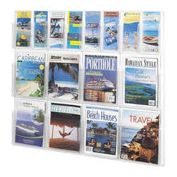 Safco - Reveal 8 Magazine and 4 Pamphlet Display Rack in Clear Finish - Display magazines and pamphlets in this stylish rack. Mounts to your wall to provide ample storage without taking up floor space. Keeps your reading materials easily accessible and tidy for you and your guests. Perfect for waiting rooms, information centers, and libraries. Includes mounting hardware. Displays literature clearly. Each pocket holds 1.75 in. of printed material. Thermoformed one-piece units have no sharp edges or corners. The displays are wall mountable. Wire partition hangers fit all Reveal Displays. GREENGUARD Certified. Made from PETG plastic. Material Thickness: 2.25mm (PETG). Pamphlet Compartment Size: 4.25 in. W x 1.75 in. D x 9.38 in. H. Magazine Compartment Size: 9.25 in. W x 1.75 in. D x 11.25 in. H. Overall: 40 in. W x 2 in. D x 34.75 in. H  (13 lbs.). Assembly InstructionDisplay your literature and magazines in an organized way. Whether it's for your guests in the reception area, waiting room, conference room, meeting areas, the lobby, foyer or entrance way or for your internal employees at a print station, lounge area, lunch or break room, mail room, supply room, classroom, media center, library or even your office, every piece of literature and magazine will have a perfect place to be displayed.