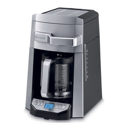 DeLonghi - 14 Cup Programmable Glass Carafe Front Fill - Drip coffeemaker with 14-cup glass carafe|Cup warmer/storage tray so cups are always warm and ready at your fingertips|Complete frontal access to the water and coffee filter|Advanced water filtration system optimizes coffee taste by eliminating off-flavors caused by chlorine in water|Aroma button to enhance the flavor and aroma of your coffee|24-hour programmable digital timer with 2-hour automatic shut-off|Pause ''n serve feature allows you to enjoy a cup before the full pot is brewed|Freshness indicator lets you know how long the coffee has been standing|Easy clean-up with non-stick warming plate|Easy-to-read blue backlit display|  delonghi| dcf6214t| automatic| drip| coffeemaker| coffee| maker| with| glass| carafe| complete| full| fully| front| frontal| access| 14c| 14-cup| 14|  Package Contents: coffee maker with glass carafe|water filter|gold-toned coffee filter|manual|warranty  This item cannot be shipped to APO/FPO addresses