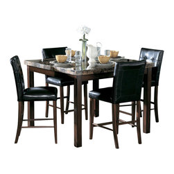 Homelegance - Homelegance Achillea 3 Piece Counter Height Dining Room Set - The decorative faux marble tops of the transitional Achillea collection are highlighted by cherry finish. For optimal space planning, the collection is offered in three table sizes.
