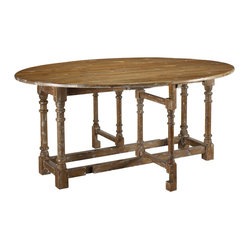 French Heritage - Reclaimed Pine Gateleg Table - With its rustic and classic design, this antique pine gateleg table looks right at home in any dining space. Having a cozy breakfast for two or a large family dinner? This table is set to accommodate!