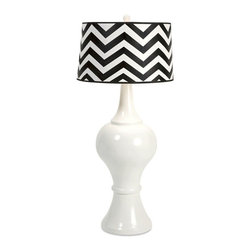 IMAX CORPORATION - Gatsby Oversized Lamp - The dramatic scale of the Gatsby oversized lamp sets it apart from any other while it's bold chevron drum shade makes a statement. Find home furnishings, decor, and accessories from Posh Urban Furnishings. Beautiful, stylish furniture and decor that will brighten your home instantly. Shop modern, traditional, vintage, and world designs.