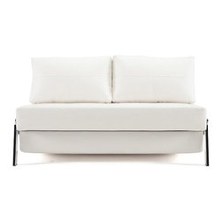 "Innovation USA - ""Innovation USA"" Cubed Deluxe Sofa Bed in White Leather Textile - Upholstered in white leather textile, this ""Innovation USA"" Cubed Deluxe Sofa Bed with chrome steel legs creates a very luxurious and businesslike sight. The sofa easily converts into a large bed. Also available in Black and Red (sold separately).    Features:"