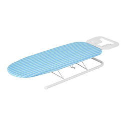 Honey Can Do - Honey Can Do Deluxe Tabletop Ironing Board with Iron Rest - Deluxe Tabletop Ironing Board with Iron Rest. This colorful tabletop ironing board provides a sturdy, ample ironing surface and incorporates a metal iron rest to prevent scorching. Pad and vibrant aqua blue cover included.