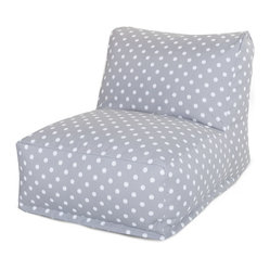 Outdoor Gray Ikat Dot Bean Bag Chair Lounger