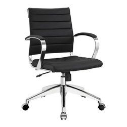 Modway Furniture - Modway Jive Mid Back Office Chair in Black - Mid Back Office Chair in Black belongs to Jive Collection by Modway Steer the course and sail to an island called style. Jive is the result of chair makers who decided to design a chair that just works. Functionally, it is a pleasure to sit in as the durable ribbed vinyl back provides natural posture support. The seat cushion and arms are padded, while the form of the armrests were intended to maximize a 90 degree wrist angling for typing. Jive's chrome-plated aluminum base is fitted with five dual-wheel casters, while a tension knob and tilt lock allow for easy back position adjustments. This is a chair made for the modern office, and a welcome embodiment of the spirit of progress and determination. Set Includes: One - Jive Ribbed Mid Back Executive Office Chair in Vinyl Office Chair (1)