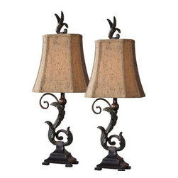Global Direct - Lamp Sets: 23.5 in. Verdigris and Bronze Buffet Lamps 29271-2 - Shop for Lighting & Fans at The Home Depot. This accent lamp has a matte black finish with a heavy verdigris wash over the leaf details. The rectangle, clipped corners, bell shade is a silken chocolate bronze textile with multiple layers of trim. It is sold as a set of 2.