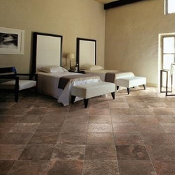 Leaves Porcelain floor tile by Rex | Leaves Chestnut, Leaves Nickel, Leaves Sund - Leaves by Rex is a textured, slate-appearance porcelain floor tile. It is commercially-rated for strength and slip-resistance.