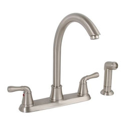PREMIER - Sanibel Lead-Free Two-Handle Kitchen Faucet with Matching Spray, Brushed Nickel - Premier's two-handle kitchen faucet includes a 12-inch high-arc spout to add sleek, symmetrical style to your kitchen. Premier's ceramic disc cartridges prevent hard water buildup and offer consistent, leak-free performance. This Sanibel kitchen faucet features two metal lever handles, lead-free brass construction, a flow rate of 2.2 gallons per minute, a brushed nickel finish, and a color matched sprayer with a 48-inch reinforced hose. It complies with the requirements of the Uniform Plumbing Code and the Americans with Disabilities Act. It is covered by Premier's industry-leading Limited Lifetime Warranty. This faucet has been certified to meet the strict lead-free standards of California and Vermont.