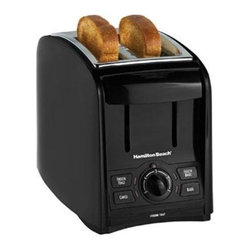 "Hamilton Beach - Smart Toast Toaster - This Hamilton Beach Black Two-Slice Toaster features 1.5"" wide slots, cool-touch exterior, automatic toast boast and crumb tray. Smart functions include: Bagel, Frozen Bagel, Frozen Toast and Cancel."