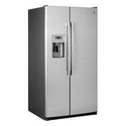 """GE - GSE26GSESS 36"""" 25.9 Cu. Ft. Side-by-Side Refrigerator with Water/Ice Dispenser - Your GE refrigerator is the largest and most visible appliance in your kitchen so it has to look great As trends in kitchen dcor change so must refrigerators Fortunately GE is a leader in refrigerator style and design And with GE you never sacrifice ..."""