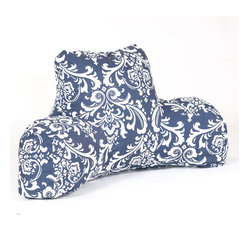 Majestic Home - Indoor Navy and White French Quarter Reading Pillow - Grab a good book, watch TV or simply chill out in style. This reader pillow has got your back — literally — and it's as easy-care as it is comfy. The durable cotton twill slipcover zips off to toss in the wash.