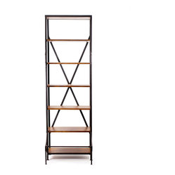 French Library Bookshelf with Handle and Step - This chic iron and wood shelf is the perfect solution for stylishly storing and displaying your books, trinkets, photos and more. Constructed in the style of vintage library shelving, it features functional handles and step bars to help you reach upper tiers.