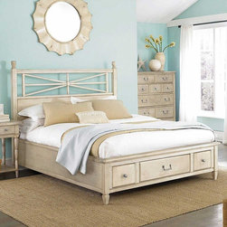 American Drew 114-333WR Americana Home Arbor Gate Platform Bed 5/0 - American Drew 114-333WR Americana Home Arbor Gate Platform Bed 5/0-Weathered White Sku: 114-333WRManufacturer: American DrewCollection: Americana Home Series Finish: Warm Khaki Oak Select Items: Weathered White Series Code: 114Product Code: 333WRParent Product: 333WR Weight: 243Cubes: 33.8C Width: 0C Depth: 0C Height: 0Product Width: 66Product Depth: 82Product Height: 59Notes: Consists Of:323W Low Post Panel Headboard 5/0 -Weathered WhiteBored for Frame335W Storage Platform Footboard 5/0 w/Rails & Slats3 Storage Drawers