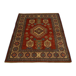 1800-Get-A-Rug - Red Kazak Tribal Design 100% Wool Hand Knotted Oriental Rug Sh16703 - Our Tribal & Geometric hand knotted rug collection, consists of classic rugs woven with geometric patterns based on traditional tribal motifs. You will find Kazak rugs and flat-woven Kilims with centuries-old classic Turkish, Persian, Caucasian and Armenian patterns. The collection also includes the antique, finely-woven Serapi Heriz, the Mamluk Afghan, and the traditional village Persian rug.