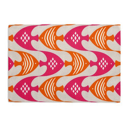 Pink & Orange Tropical Fish Custom Placemat Set - Is your table looking sad and lonely? Give it a boost with at set of Simple Placemats. Customizable in hundreds of fabrics, you're sure to find the perfect set for daily dining or that fancy shindig. We love it in this modern graphical motif of bright pink & orange tropical fish to punch up your patio.