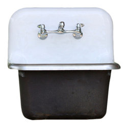 Consigned Value Large Stock Cast Iron Porcelain Wall Mount Farm Utility Sink - Value Large Dead Stock Cast Iron Porcelain Wall Mount Deep Basin Farmhouse Utility Sink