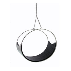Fine Mod Imports - Hanging Ring Chair - The Ring is a peaceful place in which to sit, relax swivel or to read. Solid Stainless Steel Base. 100% Italian Leather Seat. Cushion in Black