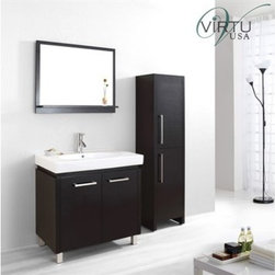 "Virtu USA - Virtu USA Harmen 32"" Single Sink Bathroom Vanity Set - Espresso - The Harmen bathroom vanity set is a great solution for any bathroom type. Clean sleek lines enhance the modern design. An oval basin crowns the cabinet top. The vanity offers maximum storage with two BLUM® soft closing doors and a concealed dividing-shelf. The vanity is constructed from solid oak wood and finished with quality veneer. The Harman vanity is simple and beautiful. FeaturesMain Cabinet: 31.1"" W x 18.9"" D x 32.7"" HSink: 31.5 x 19.3 x 7.1Mirror with Shelf: 31.5"" W x 25.6"" HSolid Oak with Natural Wood VeneerHigh Gloss Ceramic Basin/CountertopEspresso Cabinet FinishZero-Emissions Solid Oak and Veneer FinishAdjustable hinges2 Functioning Doors with BLUM Soft Closing HingesBrushed Nickel HardwareFree Standing Design with Metal LegsPS-103 faucet sold separatelyESC-261 Side Cabinet Sold SeparatelyMinimal Assembly RequiredAssembly RequiredVirtu 2 Year WarrantyVirtu USA reserves the right to repair, replace or refund any products resulting from a manufacturer's defect.How to handle your counter View Spec Sheet"