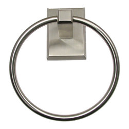 Rusticware - Utica Towel Ring, Satin Nickel - The Utica Towel Ring in Satin Nickel from Rusticware features a squared backplate.  The modern styling is sure to accentuate your bathroom's decor.