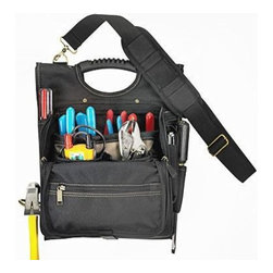 CUSTOM LEATHERCRAFT - 21 Pocket Professional Electricians Tool Pouch - 21-Pocket Zippered Electrician's Tool Pouch