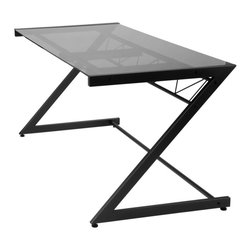 Eurostyle - Z Deluxe Desk-Large-Gb/Smkd - Graphite black powder, epoxy coated steel frame