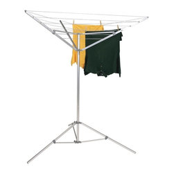 "Household Essentials - Portable Umbrella Dryer - The Portable Umbrella Dryer allows clothes to dry naturally.  This no-hassle dryer comes pre-strung and ready to install.  With its two-piece aluminum center post with snap lock and tripod base that extends to 52"" this dryer is stable.  Easily opening and closing like an inverted umbrella it stores and travels effortlessly.  Place it in the sun and brighten your whites or move it to the shade to keep colors from fading.  Use it at home or take it with you when you travel; this portable dryer goes where you need it. Details:No-rust aluminum center pole comes in 2 pieces.  Tripod base extends to 52"" for added stability.  Completely prestrung and ready for installation.  Single slide action opens and closes dryer like an inverted umbrella.  Folds completely for storage.  Aluminum upper structure and tripod base.3 section-6 line 64 drying space.  Dimensions:72""h x 52""w x 52""d182.9cm x 132cm x 132cm  Tips:Oversized tripod base stabalizes dryer; balance clothing on all sides to prevent tipping.  Great solution for small compact areas where you want to use natural energy."
