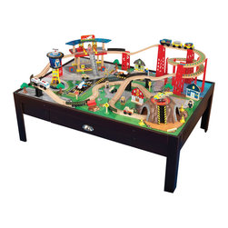 """KidKraft - Kidkraft Home Indoor Kids Play Fun Airport Express Train Set And Table - Young conductors are sure to love our Airport Express Train Set and Table. The train set puts an entire city at your child's fingertips while the table keeps playtime off the floor and close to eye level. 100-piece train. Three-piece train. Four cars, two airplanes and a helicopter.. Dimension: 46.46""""Lx 32.68""""Wx 15.75""""H"""