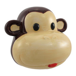 Ceramic Monkey Face Money Bank - This adorable piggy bank is a great gift to encourage good money saving habits. Made of ceramic and hand-painted, it measures 4 inches tall, 5 1/2 inches wide, 5 inches deep and empties via a plastic plug on the bottom. The bottom also features 3 round pads to prevent the bank from scratching furniture or shelves. It also makes a cute gift for fans of a popular children's series about an inquisitive little primate.