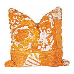 Orange Kantha Pillow - A custom pillow made with vibrant hand-sewn orange and green vintage kantha quilt on back and front. Custom welting, hidden zipper closure with removable down/feather insert.