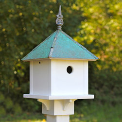 "Grandin Road - Skybox Bird House - Four-sided birdhouse with a sloped verdigris copper roof. Built-in post pocket for mounting on a 4"" x 4"" post. Cast-iron finial atop the roof. Durable white PVC siding. Add a luxury-lifestyle bird home to your landscape with the simple grandeur of our Skybox Birdhouse. The wide veranda on this classic four-sided birdhouse offers feathered friends plenty of perching room. Adding to this birdhouse's cachet is the cast-iron finial crowning the top of the copper roof. Enjoy looking at this well-crafted birdhouse as much as you do its visitors.  . .  .  . Made in USA."